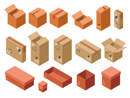 Vector isometric shipping package, cardboard boxes set Vectores