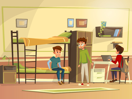 Vector cartoon teen male students group dormitory room. Boy characters discussing together, doing homework collaborating for project, sitting bunk bed, working laptop. Education study living concept.