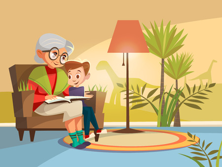 Vector cartoon grandmother reading scientific book to boy kid sitting armchair. Illustration elderly parent background of home interior with dinosaurs prehistoric plants on wall imagined by kid