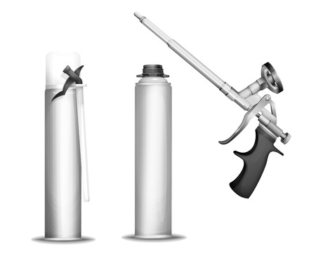Construction foam bottle vector illustration of 3D PU foam sprayer gun or pistol and metallic container tube. Realistic isolated details of construction foam bottle mockup model