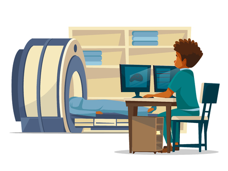 Brain MRI hospital vector cartoon illustration of doctor and patient on medical examination. Flat design of doctor sitting at computer monitor and patient in MRI tube for head tomography diagnostics
