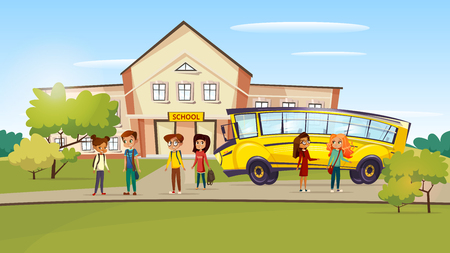 Vector cartoon teen kids pupil standing near school bus after lessons. Иллюстрация