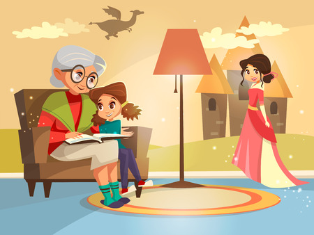 Vector cartoon grandmother reading fairy tale book to girl kid sitting at armchair. Illustration elderly parent child on background of home interior with dragon princess castle on wall imagined by kid Illustration