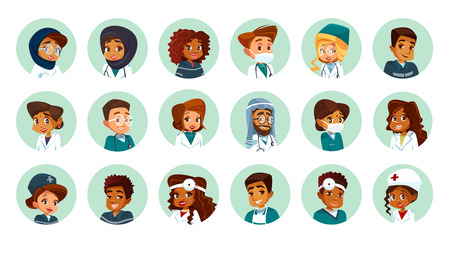 Vector cartoon multinational medical character avatars set. Circle icon with women men doctors medical uniform. African black caucasian indian muslim arab khaliji male female surgeon nurse specialist