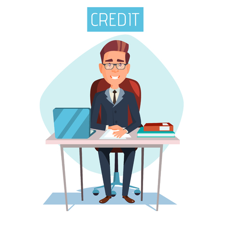 Vector cartoon manager, clerk sitting at workplace in bank credit office. Illustration with adult male business man character consultant in suit providing mortgage money loan financial consultation