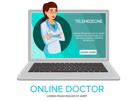 Vector cartoon online doctor. Illustration with woman doctor providing consultation from laptop screen. Telehealth medical communication technology concept, telemedicine service banner template Vettoriali