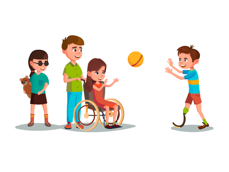 Vector cartoon disabled kids with restriction of movement playing using medical equipment set. Girl in wheelchair playing boy with leg prosthesis, blind female character with bear toy.