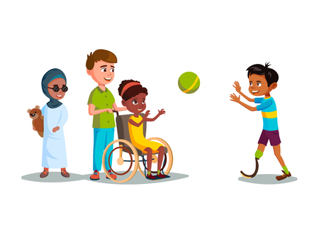 Vector cartoon disabled teen kids characters restriction of movement medical equipment. African girl wheelchair plays boy leg prosthesis, blind female khaliji Muslim character in hijab with bear toy.