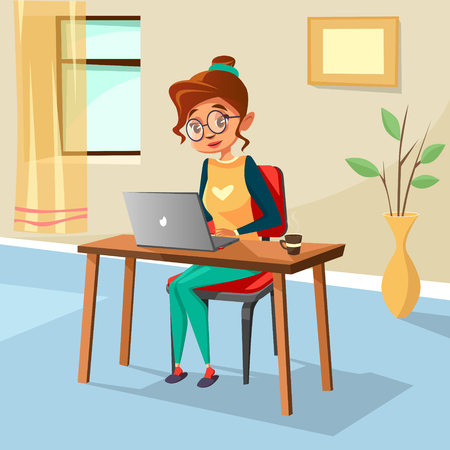 Cartoon girl sitting at cozy workplace desk typing laptop. Student education, freelance distant remote work. Illustration with female modern designer, blogger character home interior background. Illustration