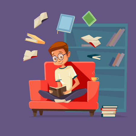 Vector cartoon young man reader, male student character sitting in glasses at armchair reading textbook with books flying around.