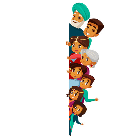 Vector cartoon Indian family characters peeping empty blank space. White paper poster background template. hindu senior man, woman, parents, father mother teen boy, girl kid in national costume