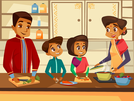 Vector cartoon Indian family characters cooking at kitchen together concept.