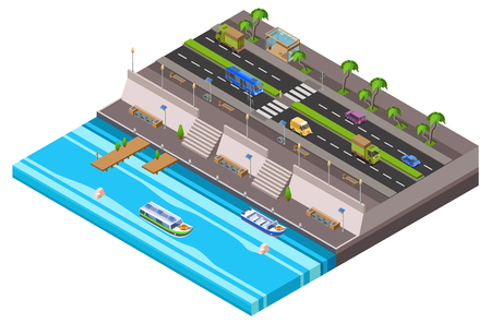 Riverside city isometric 3D vector illustration of waterfront town traffic lane along ferry boat pier. Isometric cars and vans on highway road and ferryboats at river port for city map plan Illustration