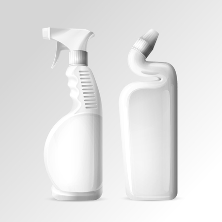Household cleaning chemicals vector illustration of 3D mockup bottles of toilet and bathroom cleaner or glass cleanser spray. White plastic bottles for kitchen degreaser and floor polish isolated set Vectores