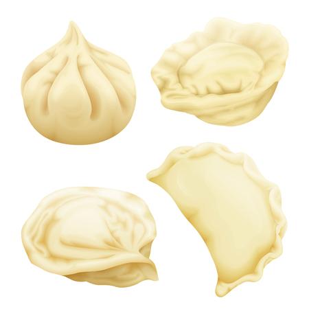Vector realistic dumplings set. Vareniki pierogi ravioli khinkali pelmeni manti momo tortellini. Stuffed meat dough, vegetable. 3d illustration national russian, ukrainian belorussian georgian cuisine