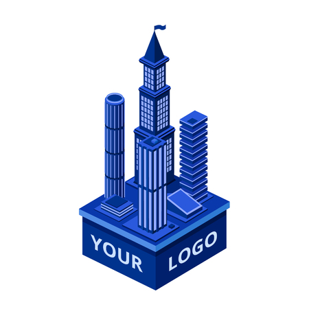 Vector isometric modern skyscraper with your logo space. Urban architecture construction element, corporate building, city downtown business center object. 3d illustration for cityscape design