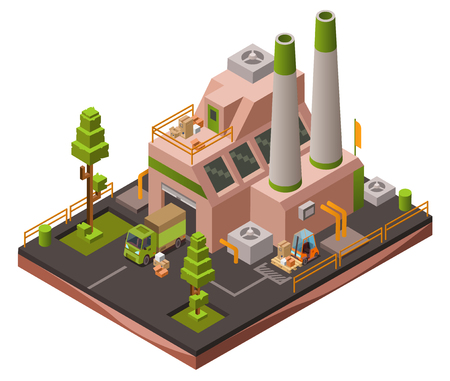 Factory plant isometric 3D vector illustration or map industrial zone with loader forklift trucks and cargo vans. Vettoriali