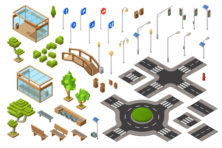 City traffic street isometric 3D vector illustration of traffic light, transport direction signs. Isolated isometric constructor icons of town bench, bus stops and bridge or crossroad lane marking Banque d'images - 98766696
