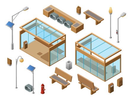 Vector isometric bus stop concept objects set. 3d city glass station benches sun panel streetlights garbage can, trash bin, fire hydrant. illustration with modern urban landscape design elements Illustration