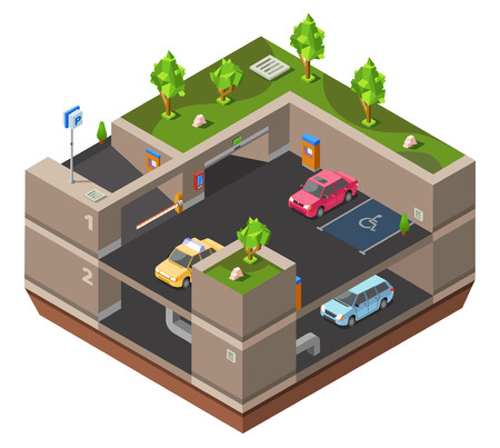 Underground multi-story car parking isometric 3D vector illustration for construction design. Isometric cars parked on underground parking lots garage with handicapped area, exit barrier and parkomat
