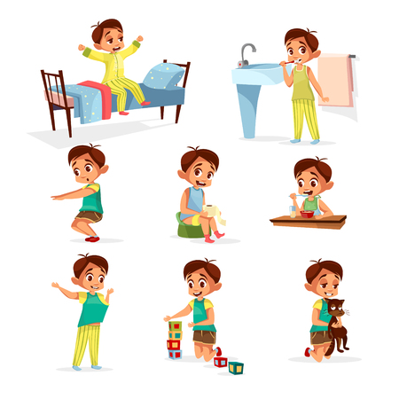 Vector cartoon boy daily routine activity set. Male character wake up, stretch, brushing teeth doing gymnastics, toilet, dressing up eat breakfast play cat, cube toys. Illustration kid life schedule