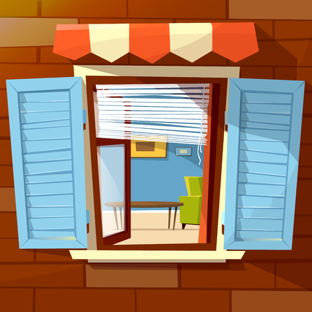 House facade open window vector illustration of window with open wooden shutters and room interior view inside. Flat cartoon design of old or modern window awning on brick wall background Vettoriali
