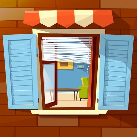 Vektorillustration des offenen Fensters der Hausfassade des Fensters mit offenen hölzernen Fensterläden und Innenansicht des Raumes nach innen. Flache Karikaturentwurf der alten oder modernen Fenstermarkise auf Backsteinmauerhintergrund