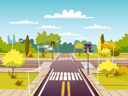 Street crossroad vector illustration of traffic lane and pedestrian crossing or crosswalk with marking. Cartoon flat design of urban road with traffic light for car sharing or car navigation technology
