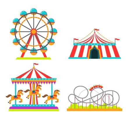 Amusement park attractions rides vector illustration. Circus tent, merry-go-round horseabout carousel and observation wheel, roller coaster or Russian mountains amusement rides flat isolated icons set