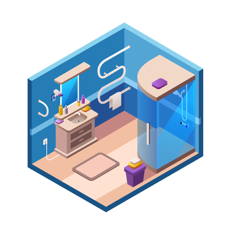 Vector isometric bathroom interior background section template. 3d modern home, hotel apartment lavatory restroom. Illustration with ceramic furniture, shower cabin sink closet mirror, blue background Illustration