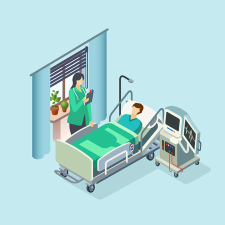 Vector isometric modern hospital room, ward with male patient in bed, female doctor standing holding clipboard and medical reanimation equipment. 3d illustration with clinic interior design