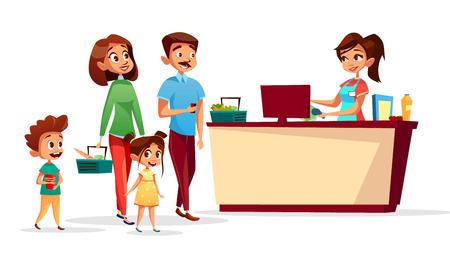 La gente alla cassa vector l'illustrazione della famiglia con i bambini in supermercato con i carrelli. Codici a barre di scansione cassiere piatto isolato o uomo e donna che pagano per l'acquisto di cibo