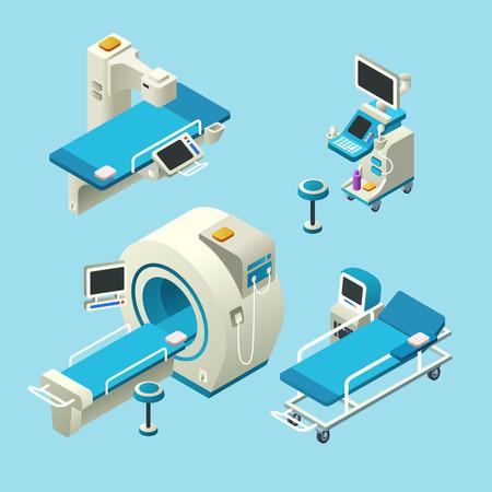 Vector isometric medical diagnostic equipment set. 3d illustration computer tomography ct, magnetic resonance imaging, mri scanning, ultrasound machine, x-ray machine radiology scan, hospital gurney Illustration