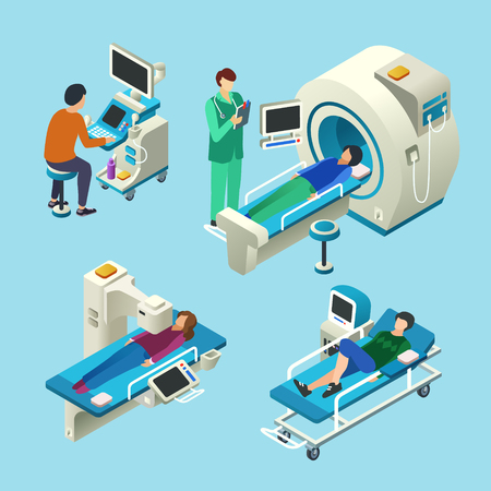 MRI scanner isometric vector cartoon illustration of doctor and patients on medical MRI scanning examination. Flat design of doctor at computer monitor and patient on hospital couch or in MRI tube
