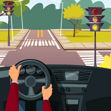 Vector cartoon man hands on car wheel driving vehicle on street crossroad background. Behind the steering wheel concept. Illustration with car interior, speedometer and view from driver angle