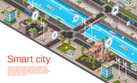 Vector isometric smart city concept. Illustration with 3d buildings, street roads with car navigation markers, factory, windmills, riverside embankment with ship, water vessel urban landscape template Illustration