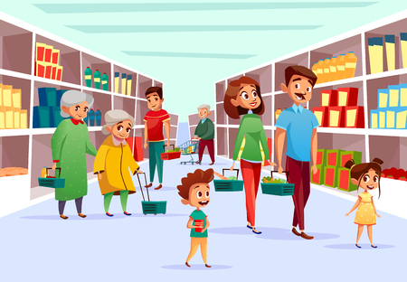 People in supermarket vector illustration. Flat cartoon design of family mother, father and children or old women in supermarket with shopping baskets and carts at grocery shop product shelf