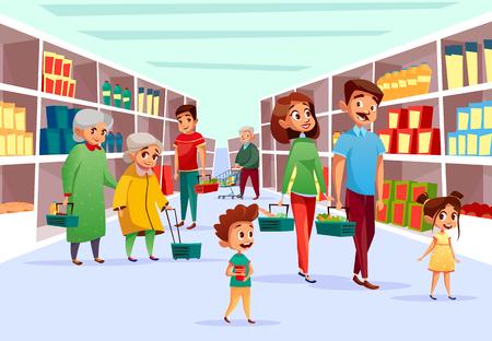 Personas en la ilustración de vector de supermercado. Diseño de dibujos animados planos de madre de familia, padre e hijos o ancianas en el supermercado con cestas de compras y carros en el estante de productos de la tienda de comestibles