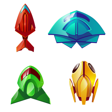 Space shuttles vector illustration. Cartoon isolated set of astronaut futuristic and fantastic spaceship rockets or orbital and planetary spacecraft transformer shuttles or ufo for kid game board