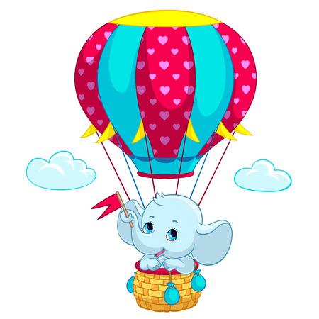 Elephant baby on hot air balloon cartoon vector illustration for kid birthday greeting card or T-shirt print design template. Flat cute little elephant traveling on air balloon with heart flags