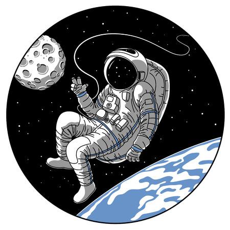 Astronaut oder Kosmonaut in offener Raumvektorillustration. Skizzieren Sie Retro-Entwurf des Astronauten im Raumanzug auf der Erd- oder Mondplanetenumlaufbahn, die Hallo-Handgeste im Bullaugefenster der Raumschiffrakete zeigt Vektorgrafik