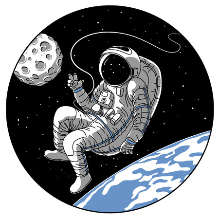 Astronaut or cosmonaut in open space vector illustration. Sketch retro design of astronaut in space suit on earth or moon planet orbit showing hello hand gesture in porthole window of spaceship rocket
