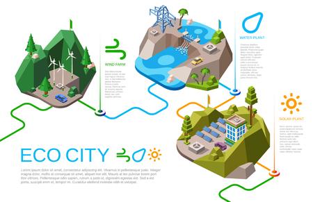 Fonti energetiche naturali isometriche dell'illustrazione di vettore della città di eco per la vita urbana. Paesaggio della città dei cartoni animati con fornitura di energia rinnovabile dalla natura, pannelli della batteria solare, energia idroelettrica eolica e idrica