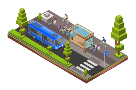 Vector isometric bus stop cross section. 3d city glass station with parked bicycles, cyclists, bus vehicle, pedestrian crosswalk, garbage can, trees. Illustration with modern urban landscape design