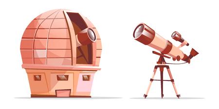 Ensemble d'équipement de découverte d'astronomie de dessin animé de vecteur. Dôme de l'observatoire avec radiotélescope et télescope sur trépied. Illustration avec des objets optiques du cosmos - planètes, outils d'observation de galaxies d'étoiles.