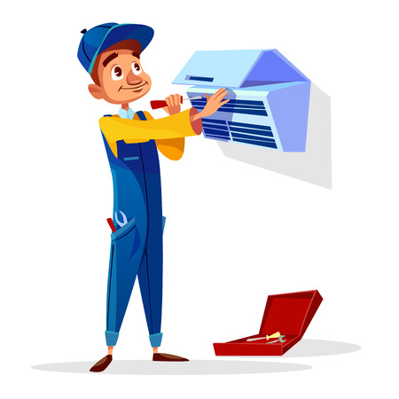 Air conditioner repair vector illustration. Cartoon flat repairman of technician engineer profession from AC air conditioner maintenance service with screwdriver and toolbox