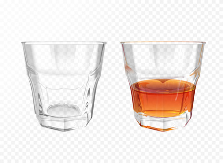 Whiskey glass 3D vector illustration of realistic crockery for brandy or cognac and whisky. Isolated transparent empty and half full glassware mockup template models set