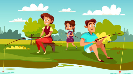 Family fishing vector illustration of mother, father and daughter on weekend holiday. Cartoon family together spend time catching fish with rods in outdoor nature at lake or river