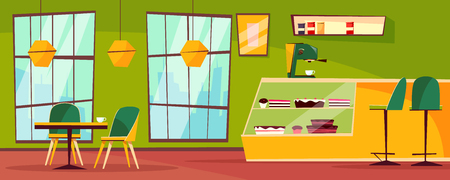Cafeteria interior vector illustration of cartoon patisserie. Flat indoor interior design of cafe tables and chairs, cashier desk and pastry desserts in showcase or coffee maker
