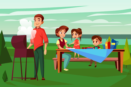 Family at barbecue picnic vector illustration. Cartoon design of father man frying at BBQ grill and mother with children boy and girl together sitting at picnic table in outdoor nature